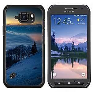 Qstar Arte & diseño plástico duro Fundas Cover Cubre Hard Case Cover para Samsung Galaxy S6Active Active G890A (Snowy Mountains)