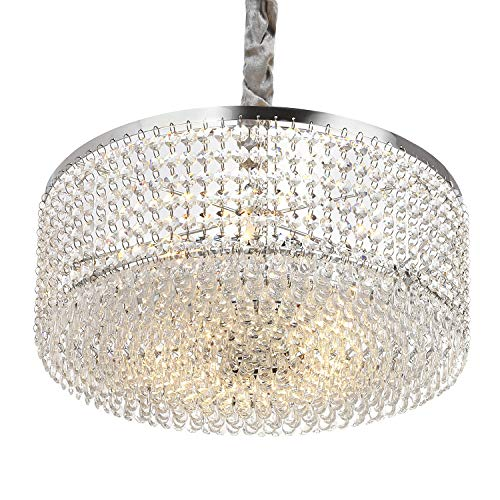 Luxurious Crystal Chandelier with Circle Shape Crystal Lighting Fixture Pendant Lamp for Dining Room Bathroom Bedroom Living-Room 3 E26 LED Bulbs Required H6.1 in x W15.8 in (Clear/Chrome)
