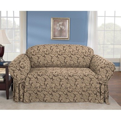 Sure Fit Scroll 1 Piece   Loveseat Slipcover    Brown  Sf36216