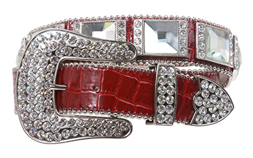Western Cowgirl Alligator Rhinestone Croco Print Leather Belt Size: L/XL - 39 Color: Red