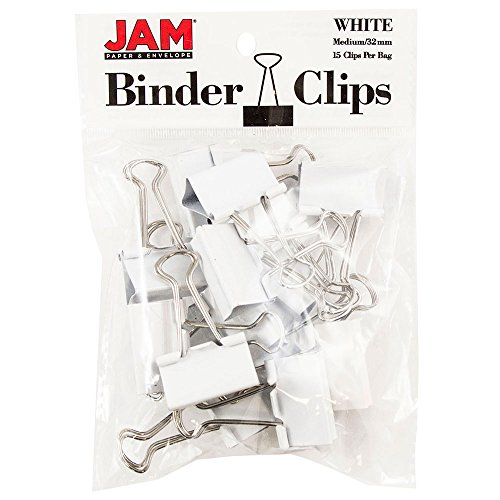 JAM Paper Binder Clips - Medium - 32mm - White Binderclips - 15/pack