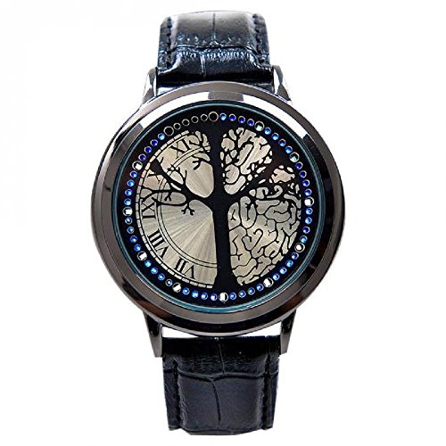 MINILUJIA Classic Creative Fashion Unique Watch Touch Screen LED Watch Wish Tree and Brain Watch with Soft Faux Leather Black Band (Wish Tree)