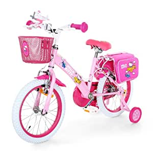 "Hello-Kitty ""Airplane"" Bicicleta infantil 41cm (16"", Sillín altura ajustable, ruedines seguridad, cesta frontal, bolsa trasera) Rosa"