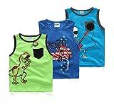 Coralup Little Boys Sleeveless Tank T-Shirts Tops 3PCS ZH001(4T,Multicoloured)