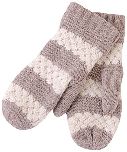 Tickled Pink Women's Faux Fur Lined Mittens Lightweight Striped, Taupe, One ()