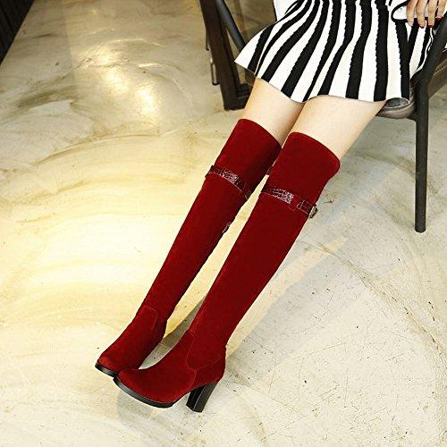 Heel the Pu Womens Knee Strap Boots Fashion Mid Over Red Block Latasa Zipper Buckle 6qf184TqBv