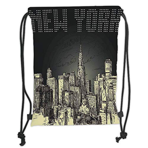 New Fashion Gym Drawstring Backpacks Bags,New York,Grunge Pop Art Style Retro NYC Sky with Iconic Empire States Building City Print,Grey Yellow Soft Satin,Adjustable String Closur