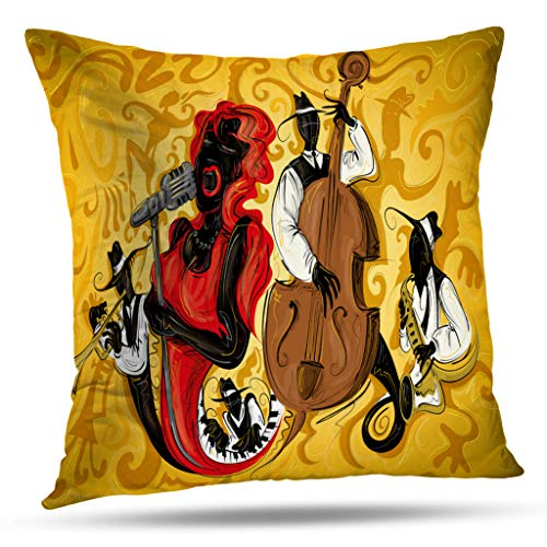 Kutita Abstract Art Decorative Pillow Covers, Abstract Jazz Art Music Musician Band Sketch Festival Throw Pillow Decor Bedroom Livingroom Sofa 18X18 inch