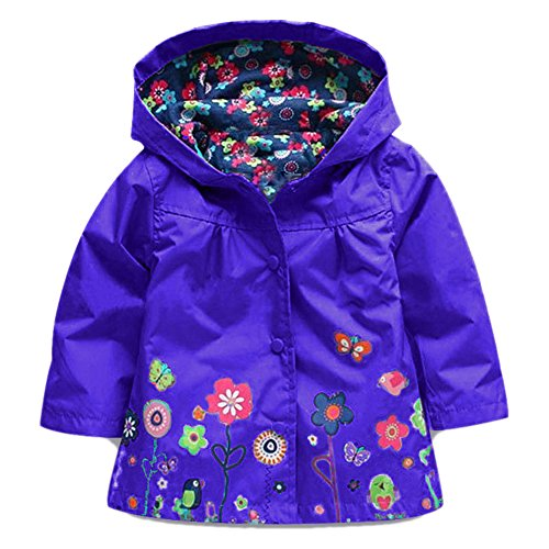 Coat Waterproof Girls' Baby JIANLANPTT Flower Hooded Dark Jacket Wind Colorful Rain Purple 4n0xwpx