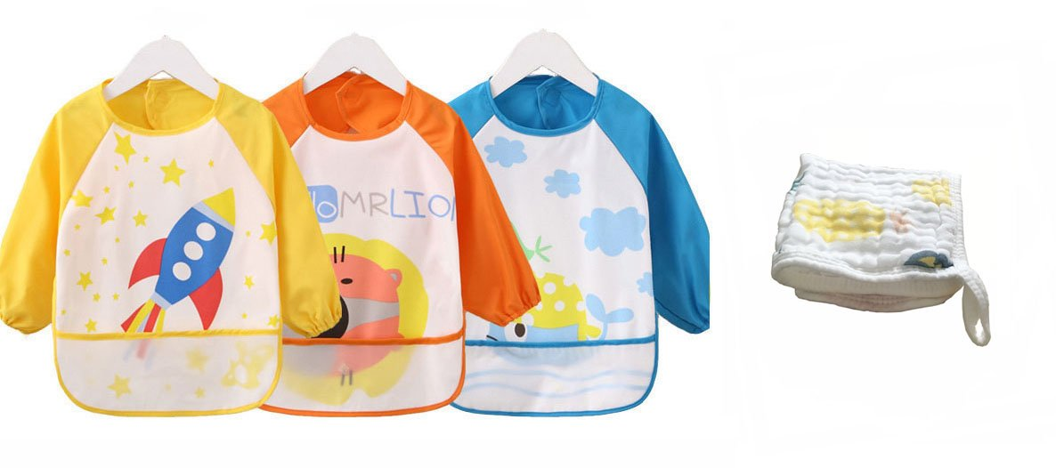 Babylaza Kids Childs Arts Craft Painting Apron Baby Bib,Unisex Baby Waterproof Sleeved Bib Eat and Play Smock,Set of 3,Free Baby Towels (Pink Series) Babylaza1720-A-1