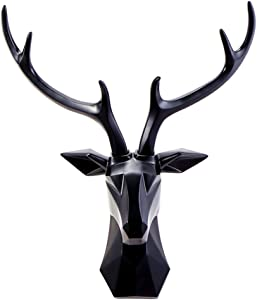 l.e.i. Animal Deer Head Wall Decor,Large Deer Head Bust Wall Hanging Sculpture,False Taxidermy Head Mount Sculpture Home Decor Black 50x26x57cm