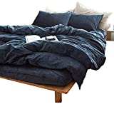 LifeTB Velvet Solid Blue Bedding Fitted Sheet King Winter Warm Hotel Quality Breathable, Durable & Comfortable