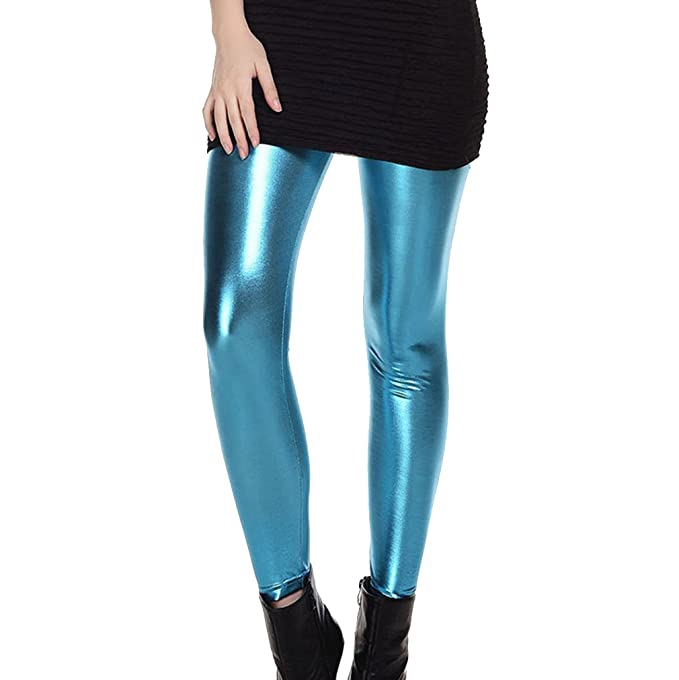 72b02e0c90 Juleya Mujer Brillante Leggings Disco Stretch Pants Wet Look 80s Leggings  Pantalones metálicos  Amazon.es  Ropa y accesorios