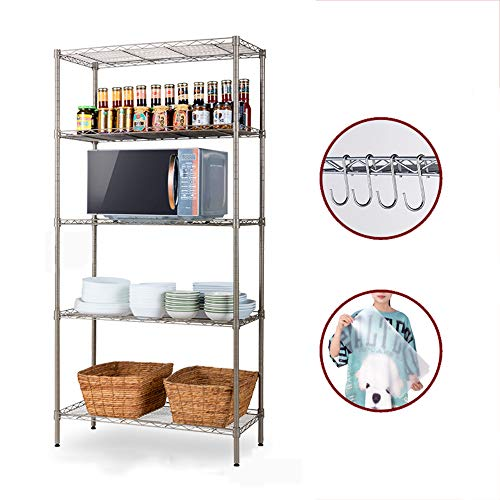 LTLWSH Shelving Unit, Storage Organisation Rack with 5 Adjustable Height Shelves and Carbon Steel Wire for Kitchen Bedroom Bathroom Office Garage, 5-Shelf,Gold (Loose Id 201)