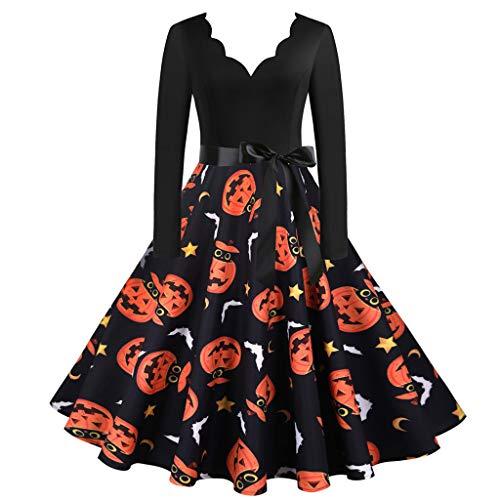 foreverH Halloween Kleid Damen Kleider Festliches Rockabilly Kleid Abendkleider Vintage Ballkleid A-Linie Cocktailkleid (0909#Orange, L)