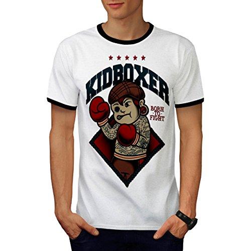 Kid Kick Boxer Funny Born Fight Men S Ringer T-shirt   Wellcoda - Sled Hockey Sticks