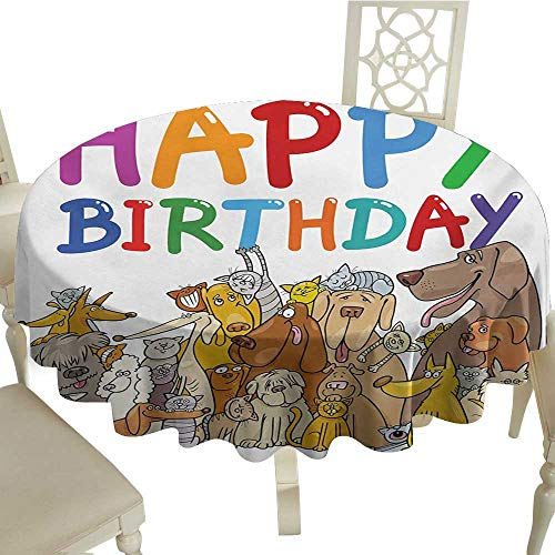 party round tablecloth 54 Inch Kids Birthday,Multicolored Cartoon Streets Dogs Cats Animals Party Themed Quote Fun Print,Multicolor Great for,family,outdoors,restaurant,Party,Wedding,Coffee - Print Great Outdoors Flannel