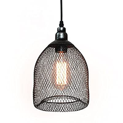 WestMenLights Industrial Metal Mesh Bird Cage Shade Opening Pendant Light Fixture