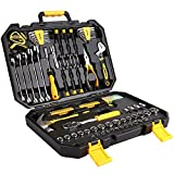 DEKOPRO 128 Piece Tool Set-General Household Hand Tool Kit, Auto Repair Tool Set, with Plastic Toolbox Storage Case