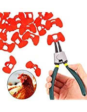 60 Pcs Pinless Peepers with Pliers Chicken Peepers Pheasant Poultry Blinders Spectacles Chicken Anti-Pecking Eye Glasses Pliers Tool for Pet Middle