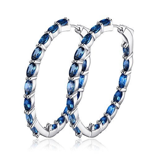JewelryPalace Huge 8.35ct Natural Londun Blue Topaz Hoop Earrings 925 Sterling Silver