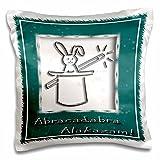 Beverly Turner Design - Abracadabra Alakazam Rabbit in a Hat Green - 16x16 inch Pillow Case (pc_18772_1)