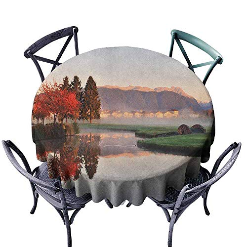 (ScottDecor Printed Round Tablecloth Fabric Tablecloth Fall,Vibrant Maple and Pine Trees Reflection Stone Bridge Over Creek Fog Houses and Hills, Multicolor Diameter 54