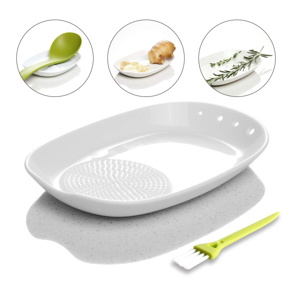 3-in-1 Ceramic Ginger Grater Spoon Rest Herb Stripper 11 16.5cm with Mini Brush - Porcelain Grater Plate for Ginger, Garlic, Onion and More - Easy to Clean and Storage - by Kitchendao by KITCHENDAO