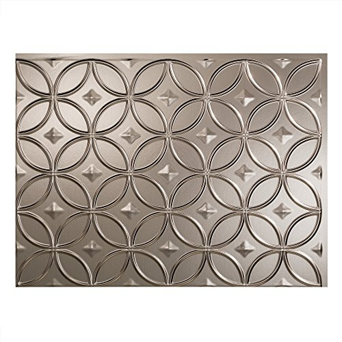 Fasade Easy Installation Rings Brushed Nickel Backsplash Panel for Kitchen and Bathrooms (18