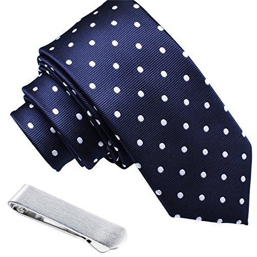 Mens Shinny Ties Polka Dots Polyester Necktie with Tie Bar Clip (2.5 inch Necktie) by HAWSON (Image #4)