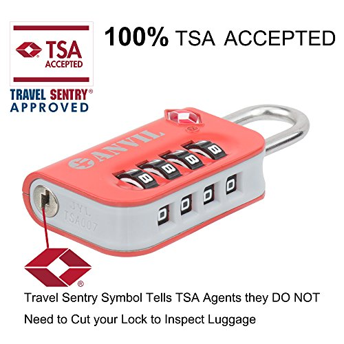 Anvil TSA Luggage Locks - 4 Digit Combination Steel Padlocks - Approved Travel Lock For Suitcases & Baggage (ORANGE 2 PACK) by Anvil (Image #1)