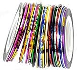 WISHNAIL Lots 30Pcs Mixed Colors Rolls Striping Tape Line Nail Art Decoration Sticker