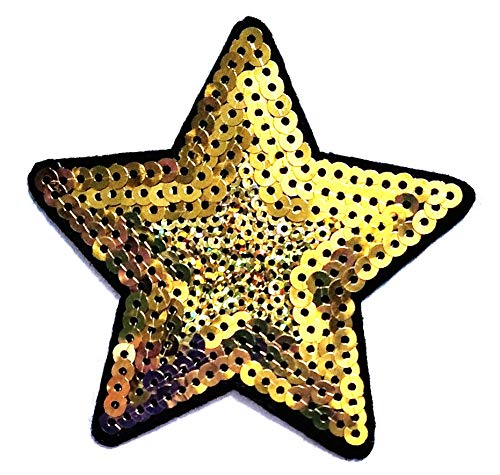 - Nipitshop Patches Gold Star Sequin Shine Shiny Logo Movie Cartoon Kid Patch Symbol Jacket T-Shirt Patch Sew Iron on Embroidered Sign Badge Costume