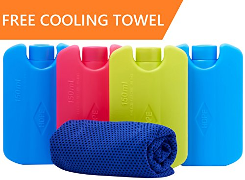 Ice Pack For Lunch Box and Coolers With FREE Cooling Towel – Keeps Food Cool Longer Than Other Ice Packs and Chillers – Durable – Perfect Size – No Leaks – No Smells – 4 Paks For Kids – BPA Free – DiZiSports Store