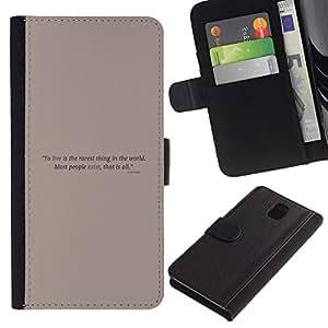 Stuss Case / Funda Carcasa PU de Cuero - Cartel de motivación - Samsung Galaxy Note 3 III