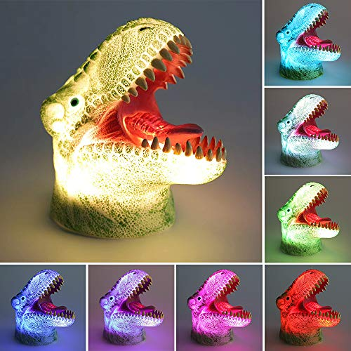 [Wall Adapter Included] 3D LED Dinosaur Night Light for Kids, Rechargeable Baby Nursery Nightlights Sensitive Tap Control 7 Color Changing Bedside Lamp for Children Boys Girls Birthday Christmas Gift by SINYWON