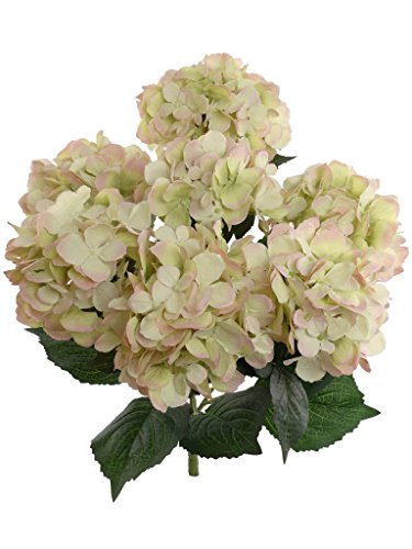 Hydrangea Silk Flowers Plant, Green Pink, Indoor Home Decoration, Outdoor Plant, Wedding, Centerpieces, Bouquets, Artificial Hydrangeas Bush with 7 Large Gorgeous Bloom Clusters, Leaves, Stems (Silk Plant Centerpiece)