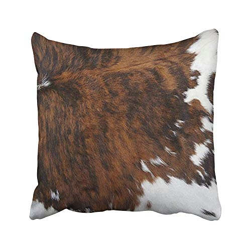 (AMallory Animal Hide Skin Print Spotted Brown White Cow Cushions Case Throw Pillow Cover for Sofa Home Decorative Pillowslip Gift Ideas Household Pillowcase Zippered Pillow Covers 18X18Inch)