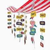 Fun Express Carnival Circus Party Striped Hanging Ticket Ceiling Decoration