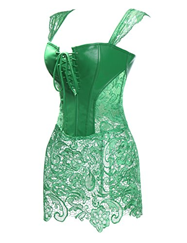 MISS MOLY Women Steampunk Faux Leather Bustier Sexy Dress Corset Top Zip Plus Size Green]()
