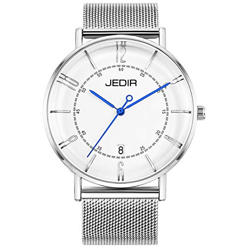 JEDIR Men Classic Simple Slim Quartz Wrist Watch Big Dial Calendar Number Mesh&Leather Band (Silver-Blue)