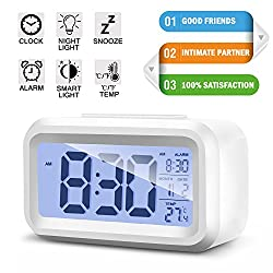 Aikmi Alarm Clock Digital LCD Large Display Battery Operated Portable Modern Smart Snooze Silent Backlight Senor Date Time Temperature Clock for Heavy Sleepers Bedroom Kitchen Office Travel (white)