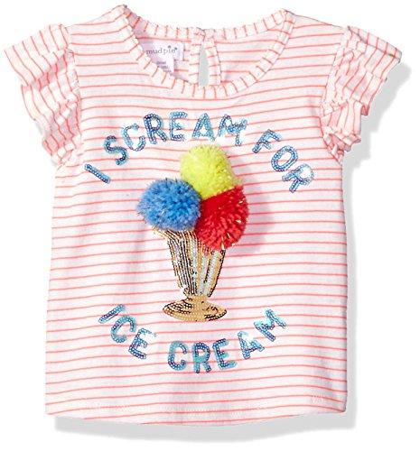 Mud Pie Baby Girls Ice Cream Stripe Flutter Sleeve T-Shirt, Pink, SM/ 12-24 MOS
