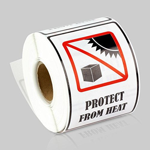 2 x 3 Inch Rectangle - PROTECT FROM HEAT International Safe Shipping Handling Caution Safety Sign Labels Stickers by Tuco Deals (Black/White, 5 Rolls Per Pack)