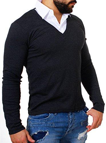 Rerock Herren 2in1 Longsleeve Hemd Kragen Shirt Pullover langarm mit tiefem V-Ausschnitt einfarbig slimfit stretch 22235, Grösse:L;Farbe:Dunkelgrau