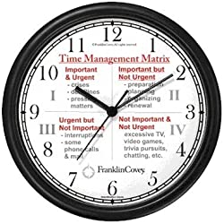 WatchBuddy Habit 3 - Time Management Matrix or Quadrants (English Text) - Wall Clock from The 7 Habits - Clock Collection Timepieces (Black Frame)