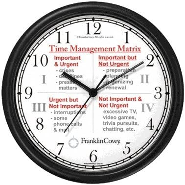 WatchBuddy Habit 3 – Time Management Matrix or Quadrants English Text – Wall Clock from The 7 Habits – Clock Collection Timepieces Black Frame