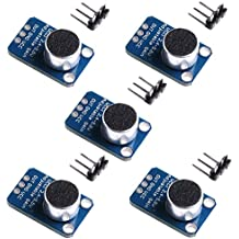Aideepen 5pcs Electret Microphone Amplifier MAX4466 Module Adjustable Gain Breakout Board for Arduino