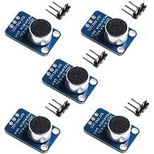 Aideepen 5pcs Electret Microphone Amplifier MAX4466 Module Adjustable Gain Breakout Board for Arduino