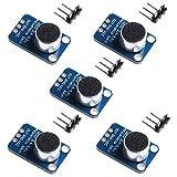 Aideepen 5pcs Electret Microphone Amplifier MAX4466 Module Adjustable Gain Blue Breakout Board for Arduino